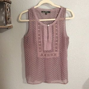 EUC M Love Stitch Greige Sheer Sleeveless Blouse